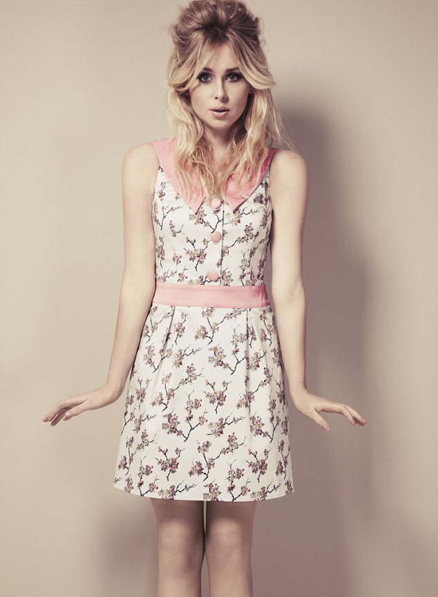 Pretty in pink: Diana Vickers takes inspiration from the swinging 60s for her first fashion collection which sports floral prints and muted shades