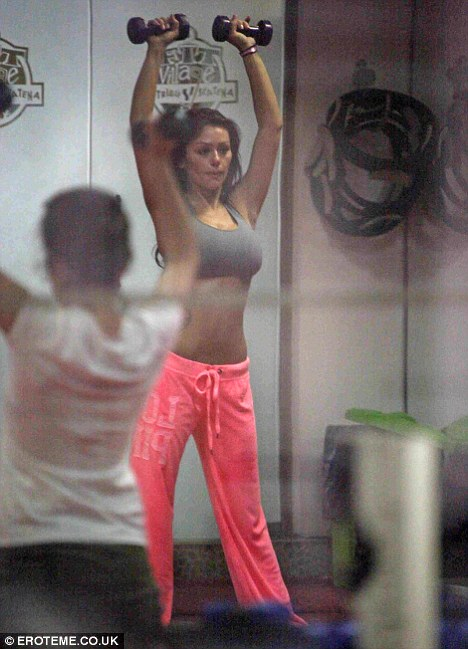 Working up a sweat: Jenni 'JWoww' Farley shows off the results of her workout in a Florence gym