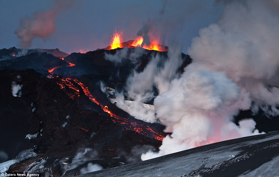 Fiery: With the night's sky as a backdrop this volcano, and the lava which is cascading down its side, looks other-worldly