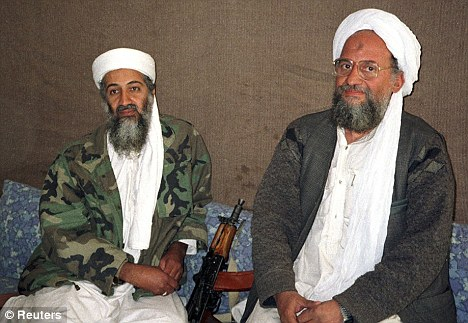 Promotion: Al Qaeda deputy chief Ayman al-Zawahri, right, is expected to be appointed as the permanent successor of Osama Bin Laden, left