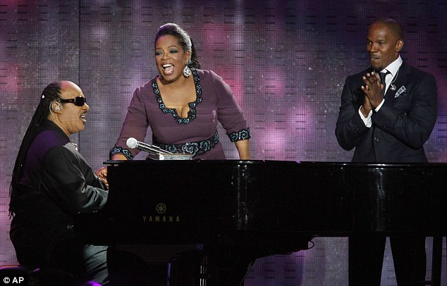 On song: Stevie Wonder and Jamie Foxx sang Isn't She Lovely in tribute to Oprah on the show