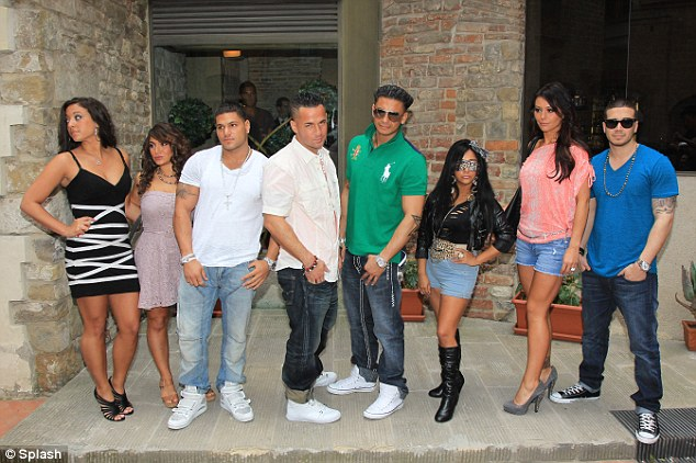Ensemble: The Jersey Shore cast pose for a group shot, from left Sammi, Deena, Ronni, Mike 'The Situation', Pauly D, Snooki, JWoww and Vinny