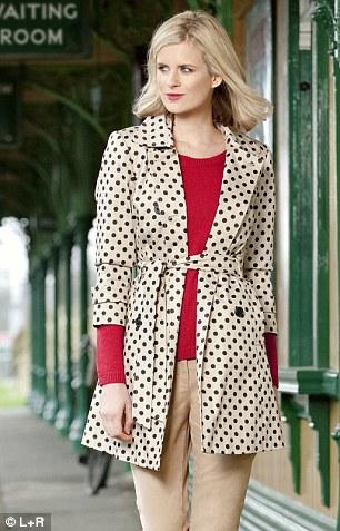 Spot trench £60, debenhams.com Red sweater £47, kew-online.com Chino trousers £26.96, gap.eu