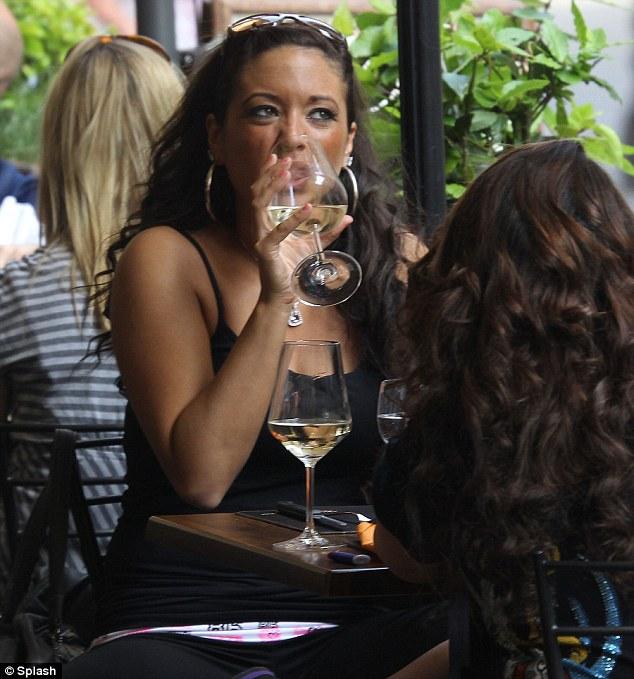 Tipple: She was joined by co-star Sammi. The Jersey Shore gang have been banned from street drinking by the Major of Florence