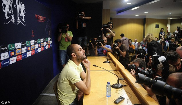 In the spotlight: Guardiola says Barcelona could be forced to fly to London on Tuesday