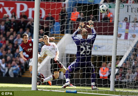 On the move? Downing slams home the winner against Liverpool
