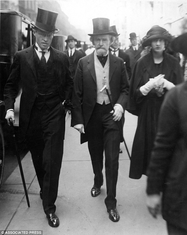 Family: U.S. Senator William A. Clark, centre, joins his daughter, Huguette, at the Easter Parade in New York. he left her billions of dollars when he died
