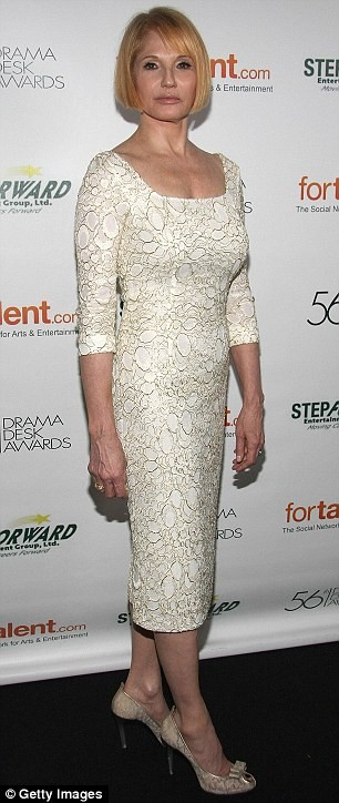 Keeping it simple: Both Ellen Barkin and Zachary Quinto went for nude colours as they posed for the event