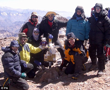 Achievement: Mr Delaney, third left, front, pictured on an expedition in 2005, became ill at 8,800 metres and is thought to have died from a medical condition