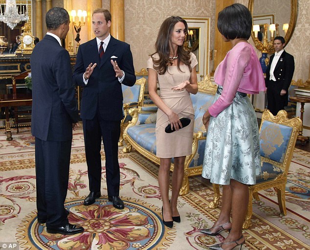 Royal visit: Earlier today President Obama and his wife Michelle met Prince William and his new wife the Duchess of Cambridge, who have just returned from their honeymoon in the Seychelles