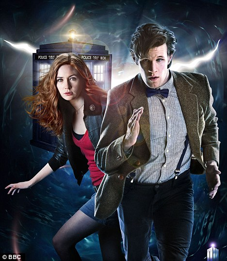 Inspiration: Matt Smith as the Doctor and Karen Gillan as Amy Pond with their Tardis in the background