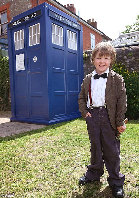 Birthday boy: Zachary Smith, dressed as the Doctor, woke up on his fifth birthday to find his very own full-sized Tardis in his back garden