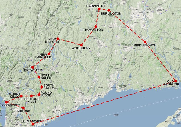 Creatute of habit: The Heatherman usual 365-mile loop through Connecticut and New York Map which, typically, would take him 34 days