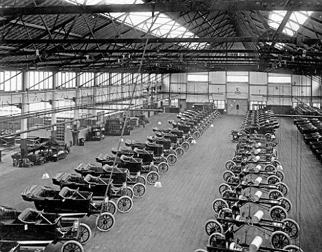 Revolutionary: Ford Model Ts on the assembly line at Trafford park