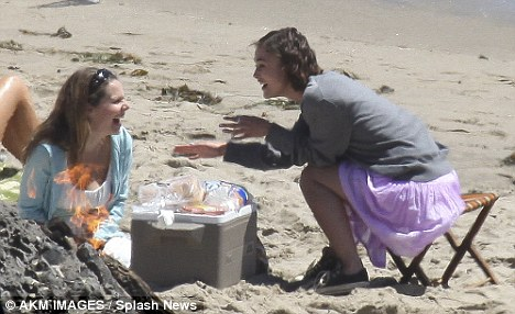Keira Knightley and a female co-star filming their new movie Seeking a Friend in Malibu
