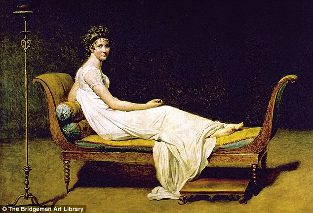 Jacques-Louis David was the painter of the French Revolution and Napoleon. This portrait of leading French socialite Juliette Recamier depicts her as a pure, new woman, lounging on an empire sofa