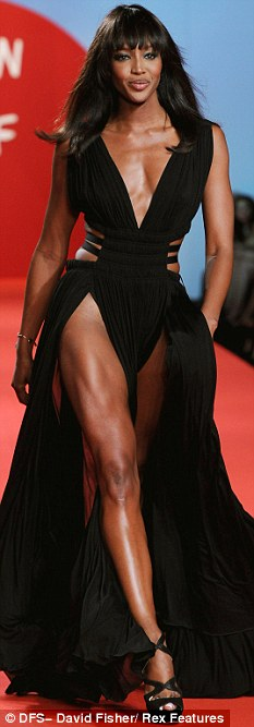 Style icon: Model Naomi Campbell at a fashion show this month
