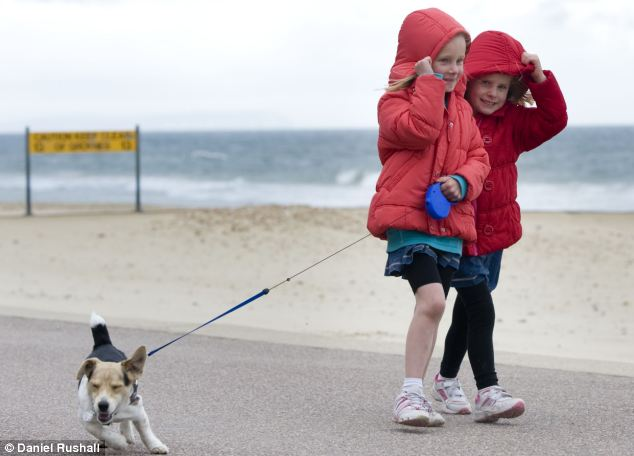 Typical Bank Holiday weather: Sisters Chloe and Abbie Palmers, six and five from Leicester walk their Jack Russell in Bournemouth