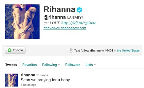 Rihanna led the celebrity tributes to Sean on Twitter