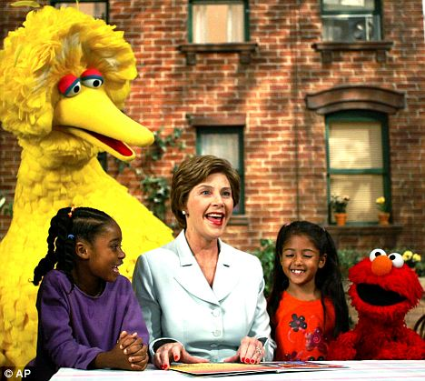 VIP visitor: Former First lady Laura Bush appeared on Sesame Street in 2002