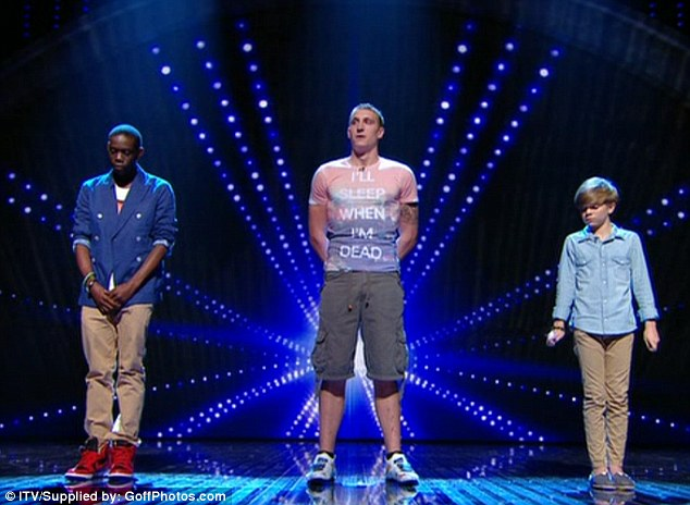 Top three: (L-R) Paul  Paul Gbegbaje, Joe Oakley and Ronan Parke were the three acts who got the most votes from the public on tonight's first live semi-final