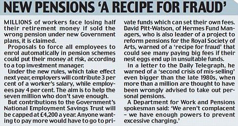 New pensions 'a recipe for fraud'