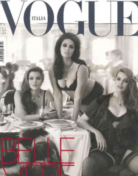 Curves ahead: The cover of July's Vogue Italia features plus-size models Tara Lynn, Candice Huffine and Robyn Lawley