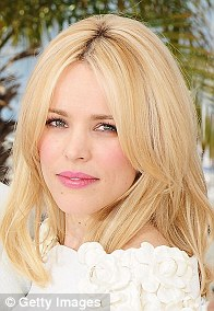 Far too light: Natural brunette, Rachel McAdams looked very blonde in Cannes last month