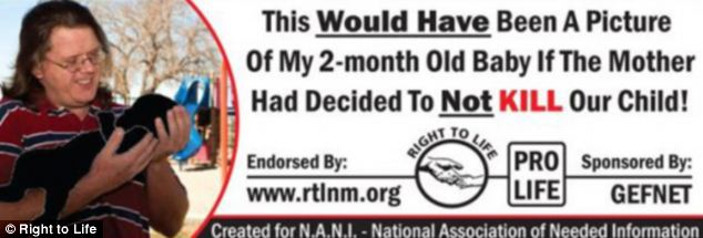 Controversy: Greg A. Fultz, 34, took out this billboard in New Mexico. A court official asked him to take it down, but he is claiming free speech rights
