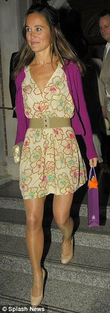 Chic: The Duchess of Cambridge's sister looked great in her floral patterned dress