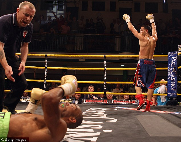 Down and out: Triumphant Yassine El Maachi celebrates after knocking down Junior Witter in the Prizefighter welterweight final