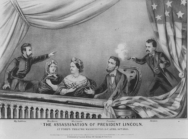 Assassination: Lincoln was shot in the presidential box of Ford's Theatre by actor John Wilkes Booth, before he was examined by a doctor and carried across the street to Petersen's Boarding House where he died
