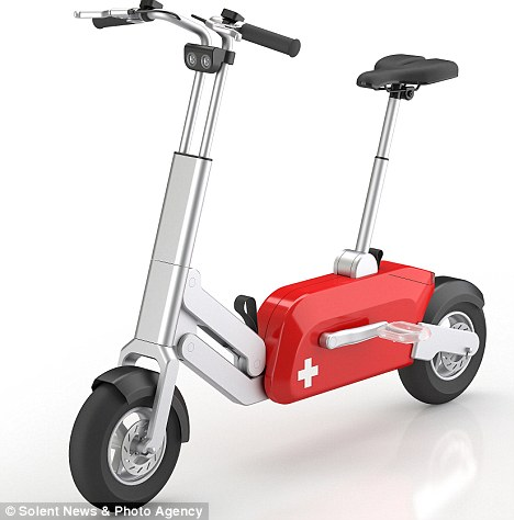 On your bike: The electric cycle has been dubbed the ultimate space-saver. It was designed by a father and son