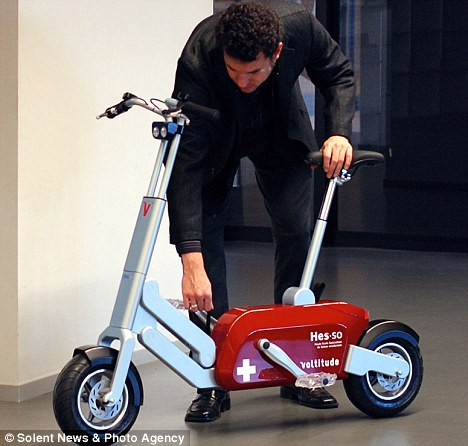 Easy rider: The electric cycle can travel 25 miles before it has to be recharged