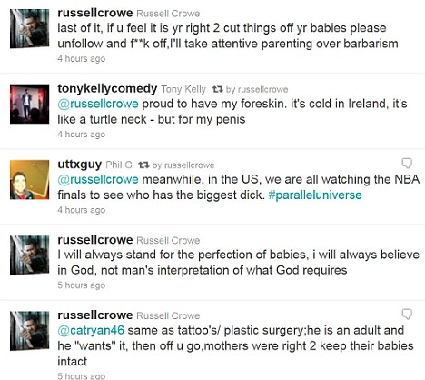 Staunch defence: Crowe made his views on circumcision plainly clear in his early morning Twitter rant