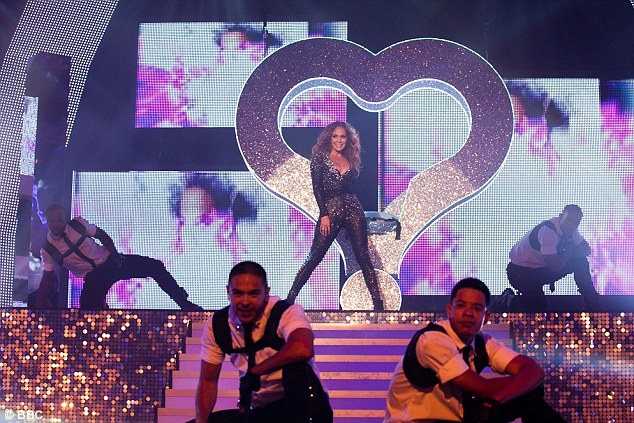 Glittering: Jennifer's spangly catsuit blended in with the bling on the So You Think You Can Dance set