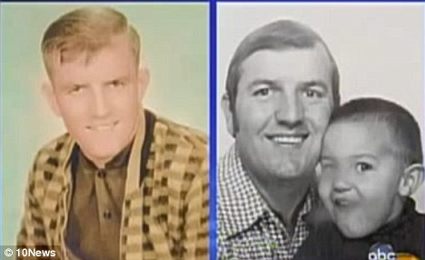The pictures: An image of Charles's father from 1965, left, was matched to one showing Charles with his father in 1972, right