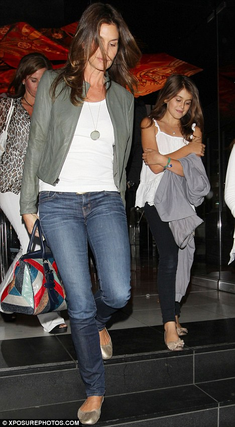 Girls night out: Cindy took her daughter out for dinner at Katsuya in Hollywood with friends earlier this month