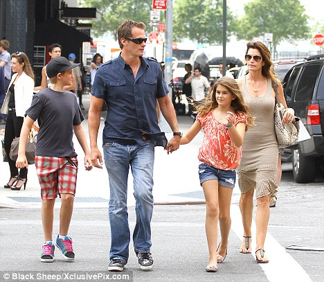 Youthful: Kaia looked more youthful during a stroll with her family in New York last week