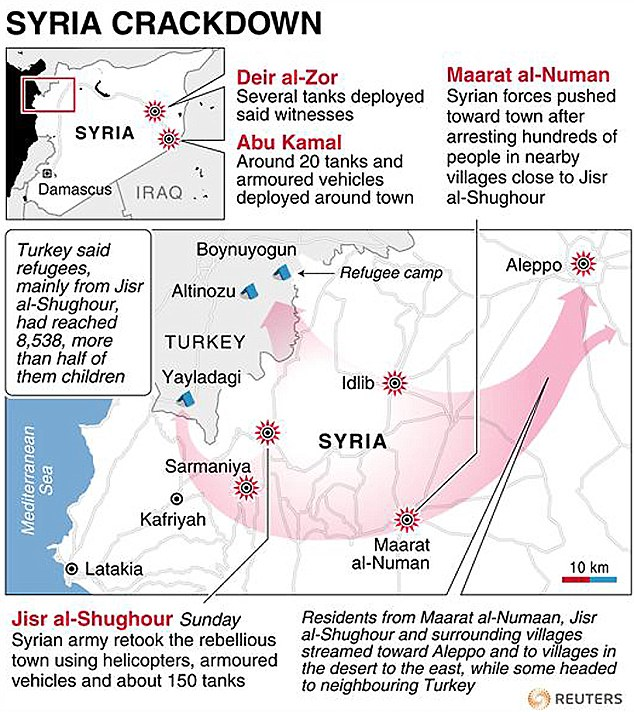 Map of Syria locating latest violence and events