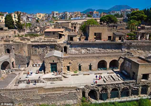 The Roman town of Herculaneum, close to Pompeii was destroyed by the devastating eruption of Mount Vesuvius in AD79