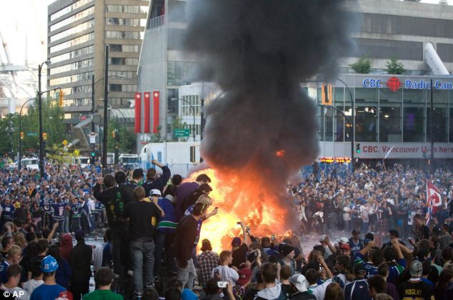 Thousands of people had gathered to enjoy the game in central Vancouver but things turned nasty in the closing stages