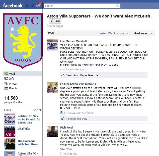 Making their point: Villa fans have taken action on Facebook to oppose the appointment of McLeish