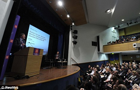Mr Balls addresses the crowd at the London School of Economics as he calls for the Government to change course on the economy