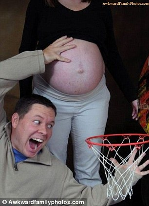 Dunk: This unborn baby will be off to its first basketball game with dad soon - but spare a thought for mum
