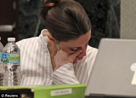 Upset: Anthony has often displayed emotion during the high profile case
