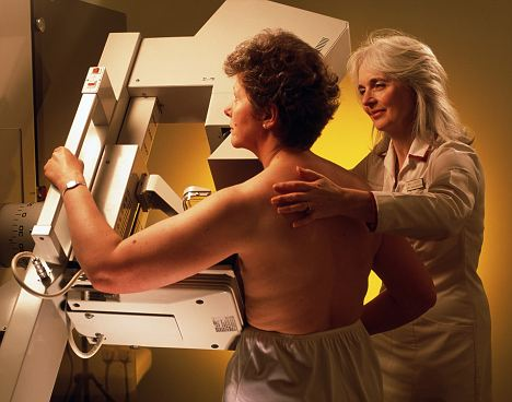 A radiographer prepare a woman for a mammogram: Breast cancer accounts for a third of all cancer cases in women, however older women with the condition are more likely to die from heart disease