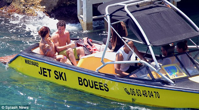Heading out to sea: The couple took a boat out into the water