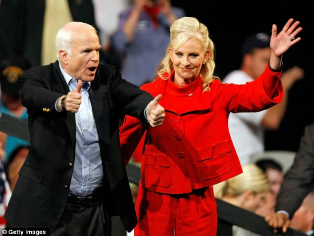 Campaigning: Republican presidential nominee Sen. John McCain (R-AZ) and his wife Cindy McCain at a rally in Nevada November 3, 2008