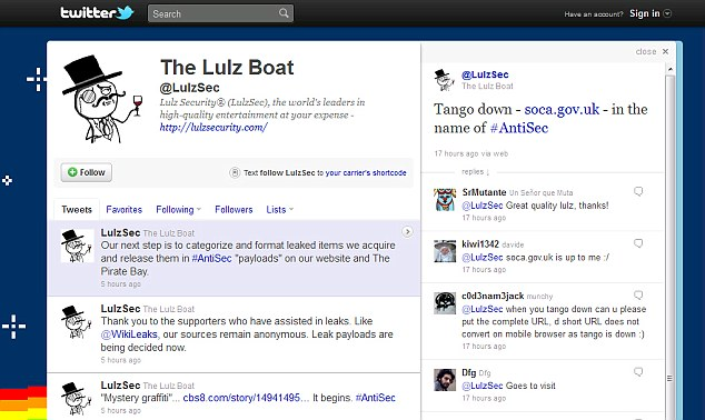 LulzSec wasted no time in claiming responsibility for Monday's Soca attack on its Twitter page, see top right